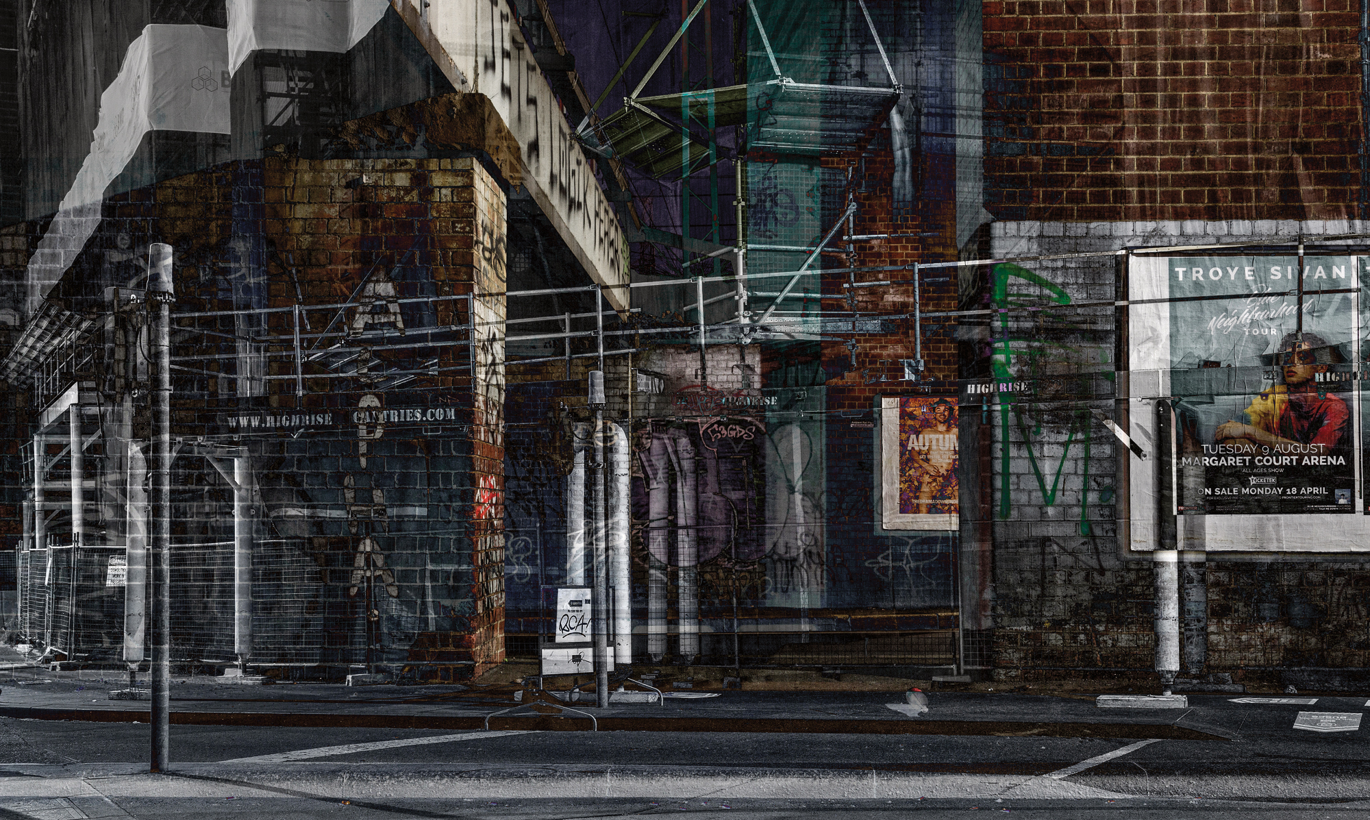 "In a Moment 2017 Image size 48.77 X 29.18cm, 19.2"" X 11.5"" Combination of two images from Melbourne CBD and Kensington Archival digital print on Canson Platine rag. Edition of ten. Signed and numbered on print margin with certificate attached to rear of frame.© Christopher Sheils"