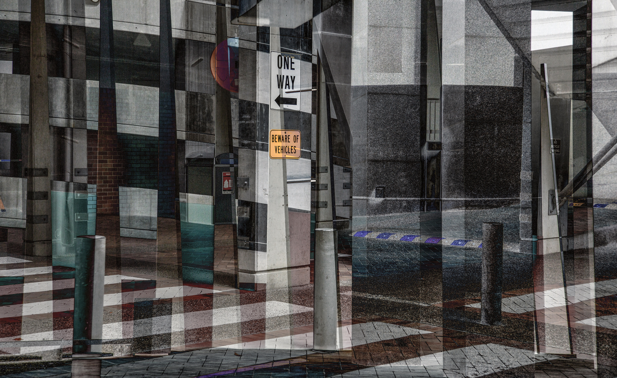 "Cubist Carpark 2017 Image size 48.22 X 29.54cm, 18.98"" X 11.63"" Combination of two images from Brisbane Exhibited at Knox as part of the Immerse Exhibition Program Exhbited at the Bakery Gallery 2018 Archival digital print on Canson Platine rag. Edition of ten. Signed and numbered on print margin with certificate attached to rear of frame.© Christopher Sheils"