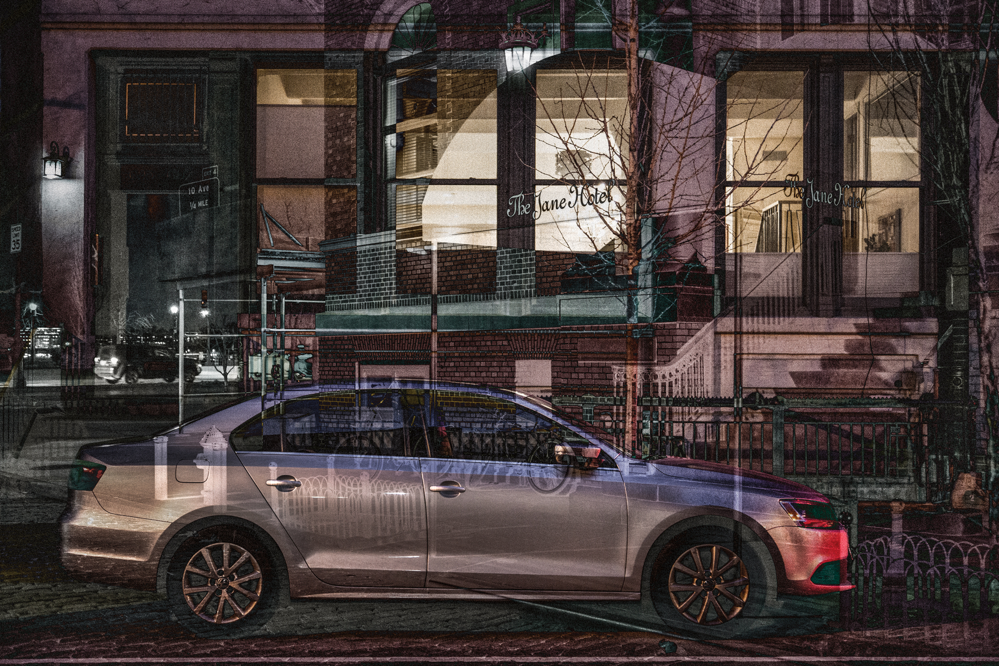 "Jane Street 2017 Image size 48.77 X 32.51cm, 19.2"" X 12.8"" Combination of two images from Greenwich village, New York. Archival digital print on Canson Platine rag. Edition of ten. Signed and numbered on print margin with certificate attached to rear of frame.© Christopher Sheils"