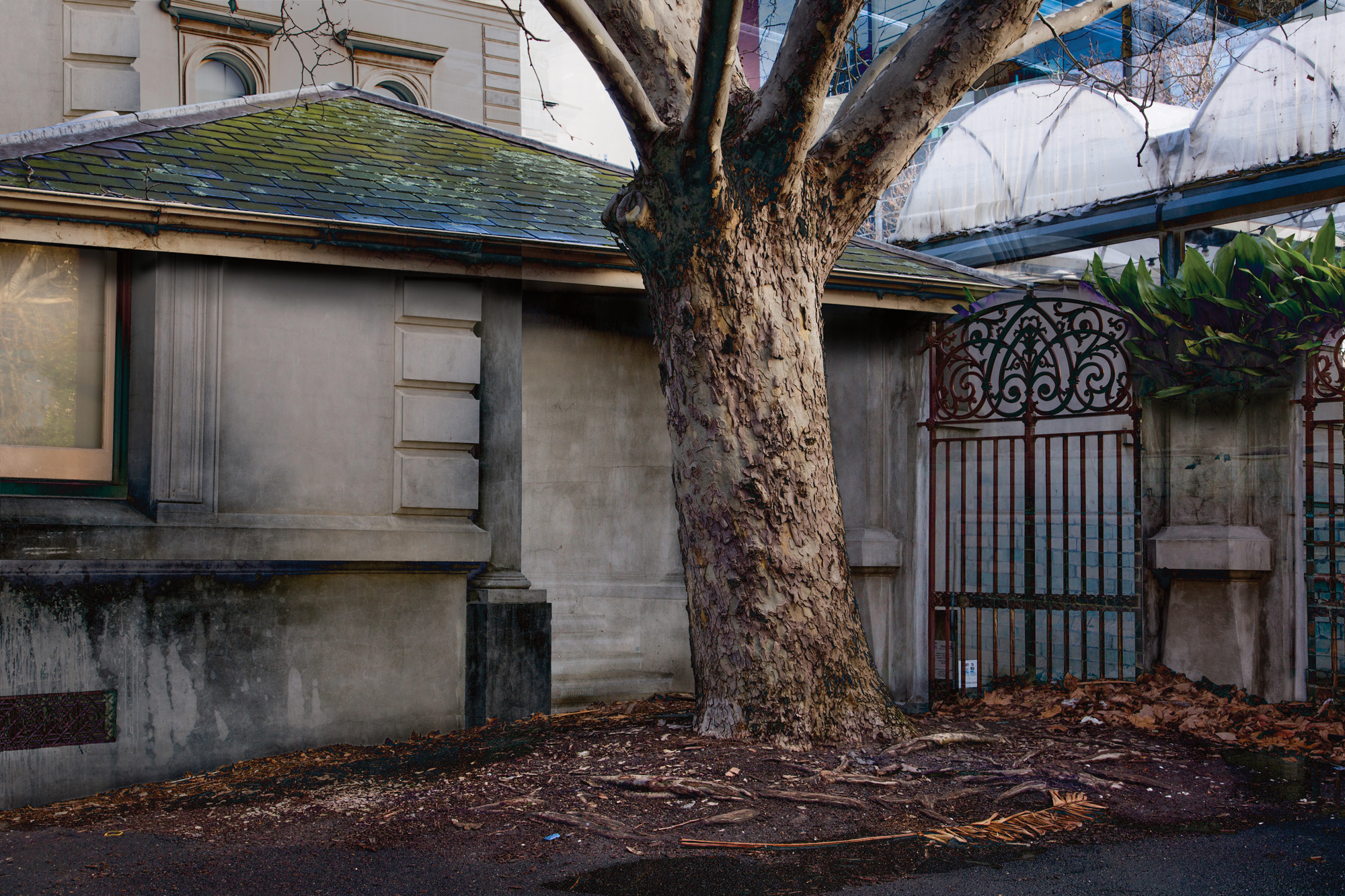 "The Outhouse 2017 Image size 48.77 X 32.51cm, 19.2"" X 12.8"" Combination of two images shot in the grounds of the old Treasury Building, William Street, Melbourne. Archival digital print on Canson Platine rag. Edition of ten. Signed and numbered on print margin with certificate attached to rear of frame. © Christopher Sheils"